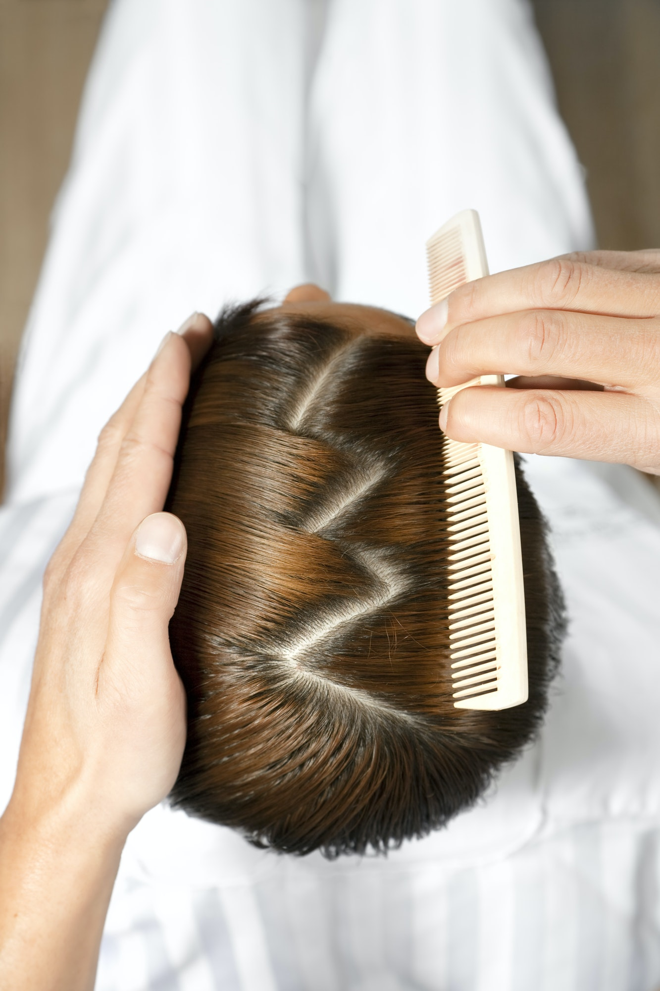 Hair Dresser Cutting Hair To Beautiful Girl In Hair Salon